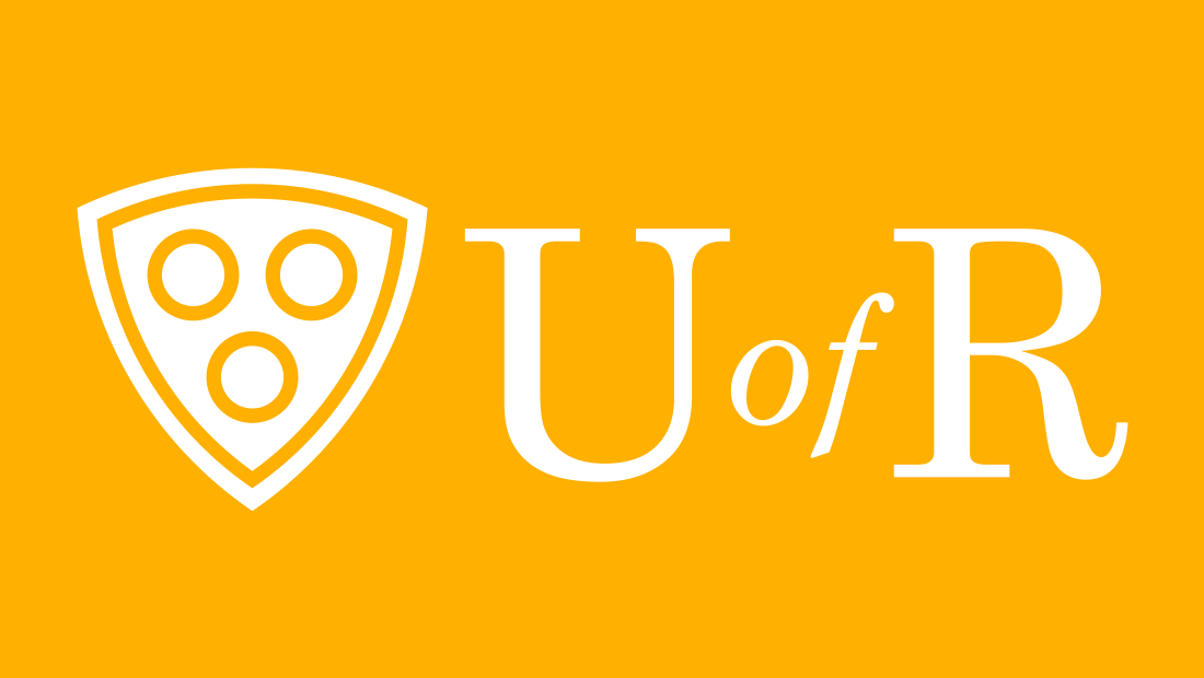 On vibrant yellow, the U of R (University of Rochester) logo appears in white. The University of Rochester identity system was developed by the marketing team at Insomniac Studios.