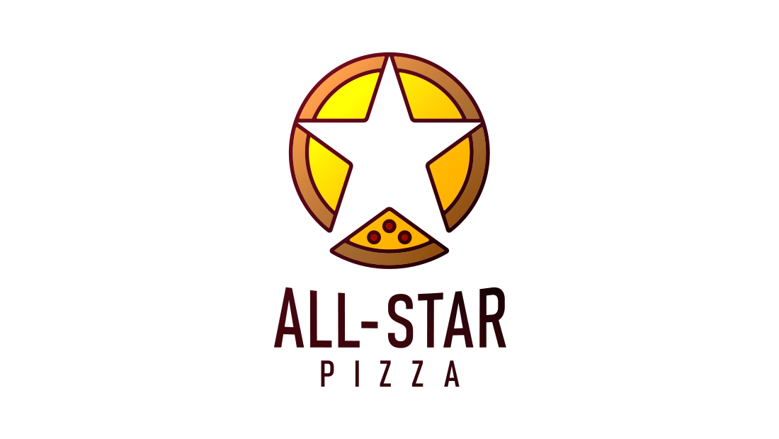The All-Star Pizza logo shows five slices being pulled apart to reveal a negative star shape. Logo design from Rochester-based marketing, advertising and design agency Insomniac Studios. Copyright, 2017.