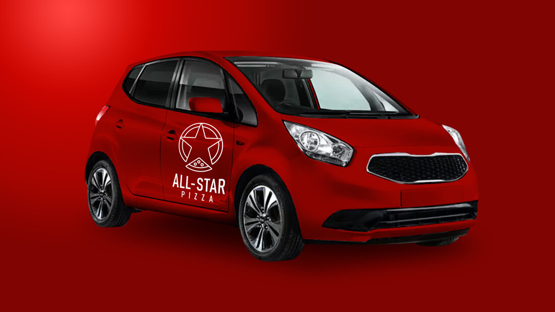 All-Star Pizza delivery vehicle wrap and logo created by Rochester, NY, marketing services and design agency Insomniac Studios.