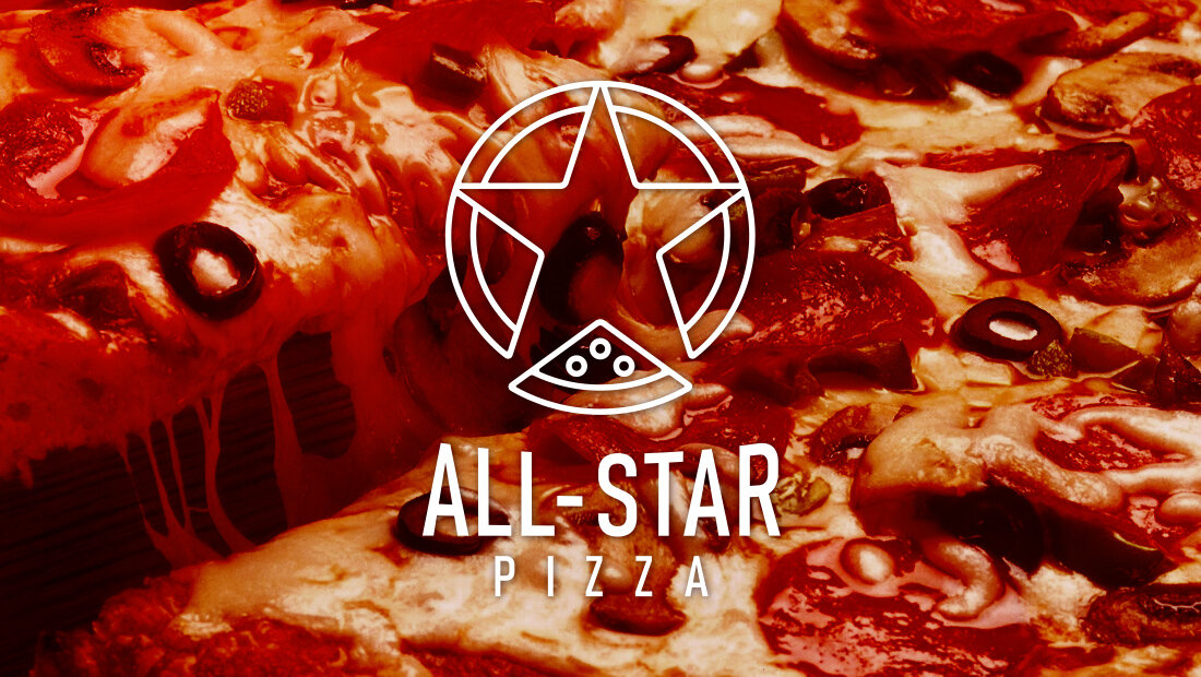 New corporate identity for All-Star Pizza. Logo design by Insomniac Studios. Logo design and marketing from Rochester agency Insomniac Studios, 2017.