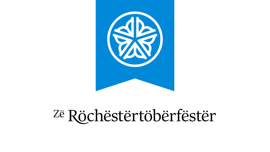 An alternative Rochester Oktoberfest logo from marketing and advertising agency Insomniac Studios. This logo version incorporates the city of Rochester, New York's logo into the blue logo design. Copyright 2018.