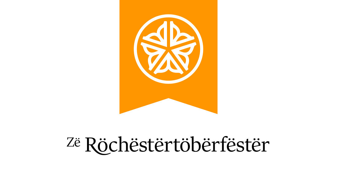 Another take on the alternative Rochester Oktoberfest logo. Logo design by marketing and advertising agency Insomniac Studios. This version incorporates the city of Rochester, New York's, logo into the orange logo design. Copyright 2018.