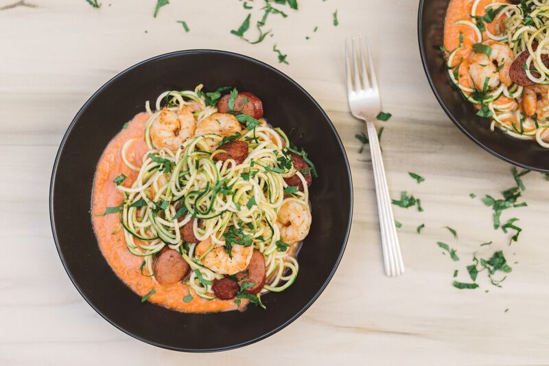Smokin' Hot Tex-Mex Hummus Marinara with Zucchini Noodles, Shrimp and Sausage