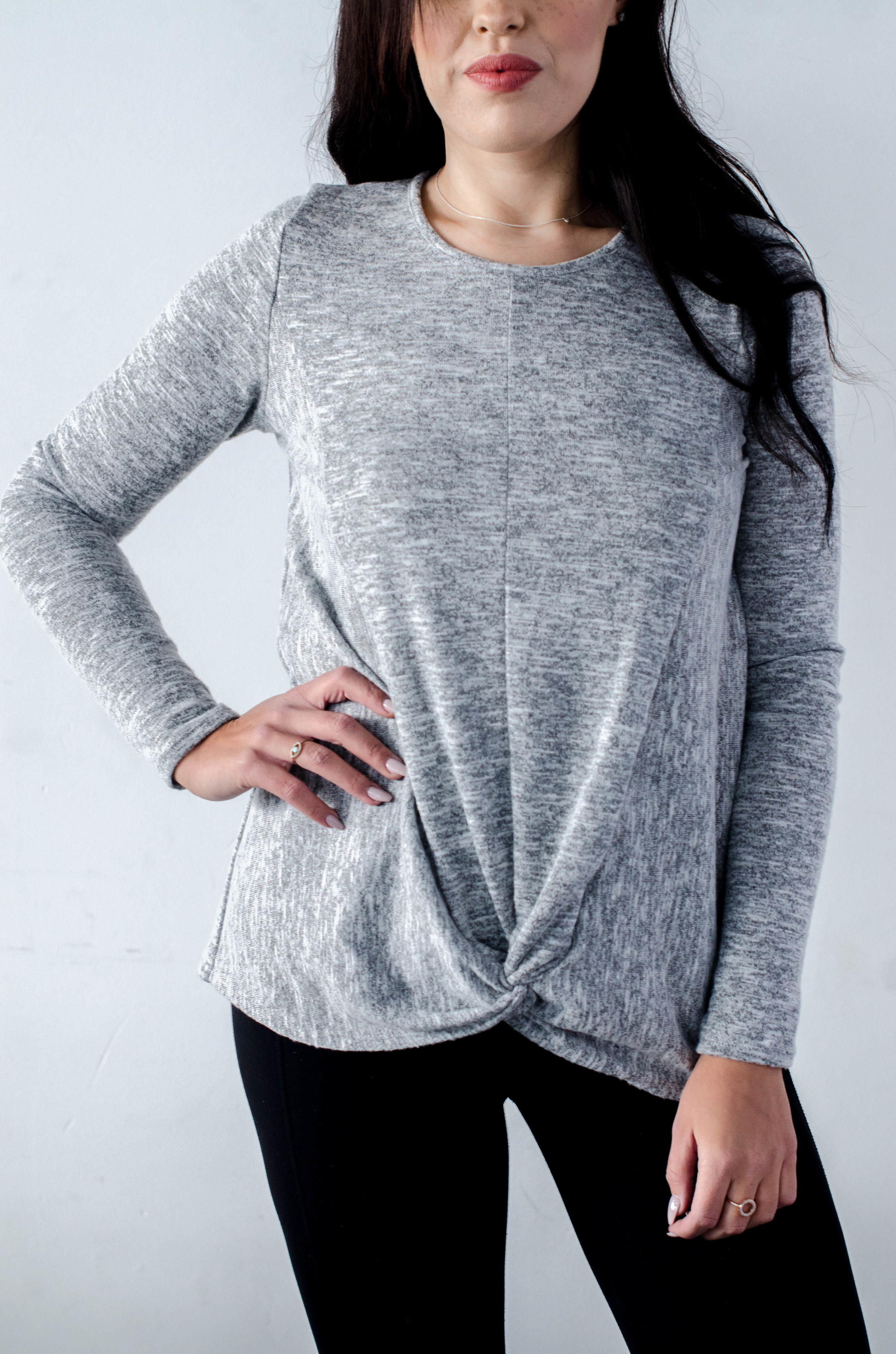 Long Sleeve Knotted Hem Top