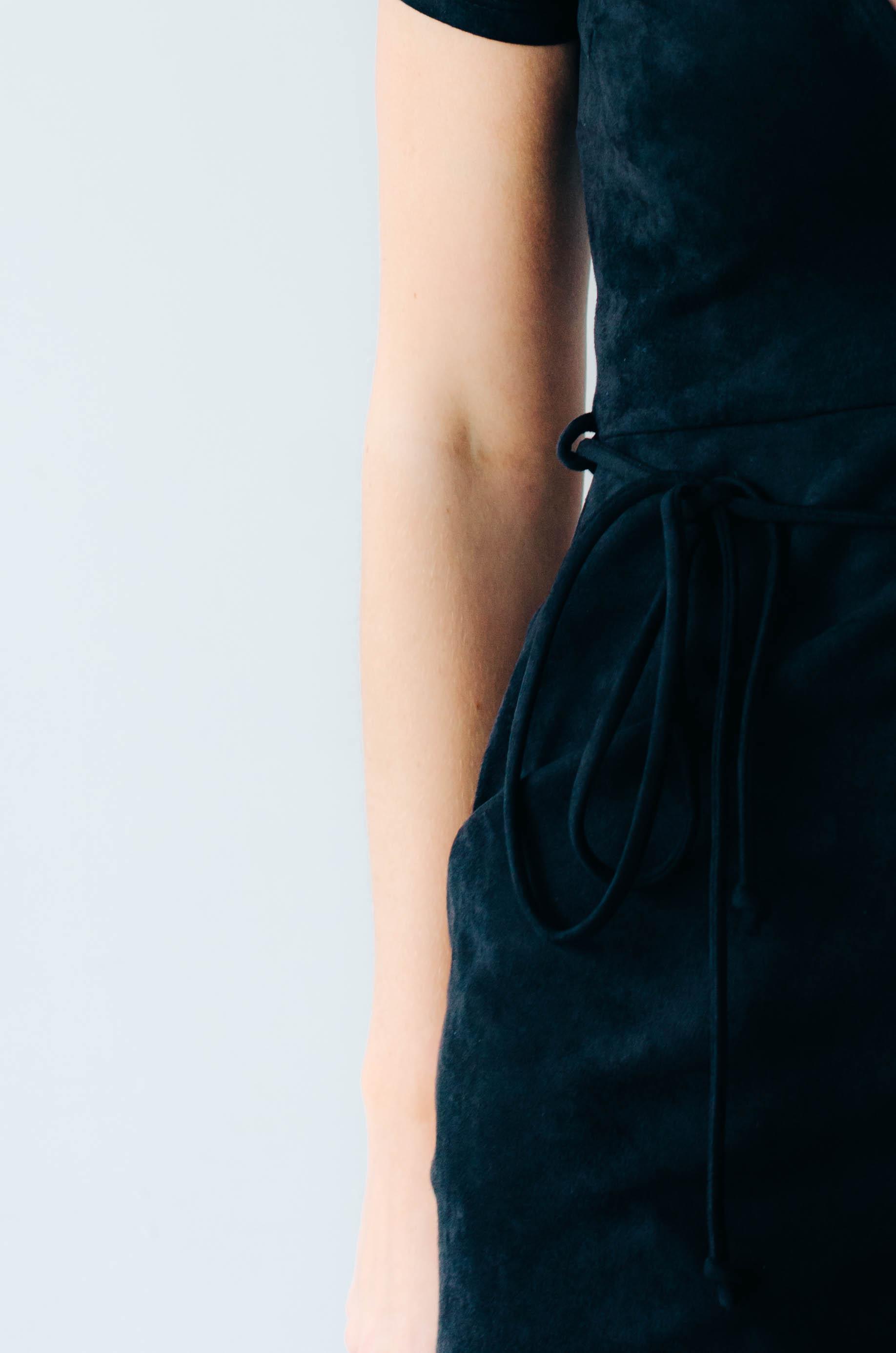 Suede Plunging Neckline Mini Dress