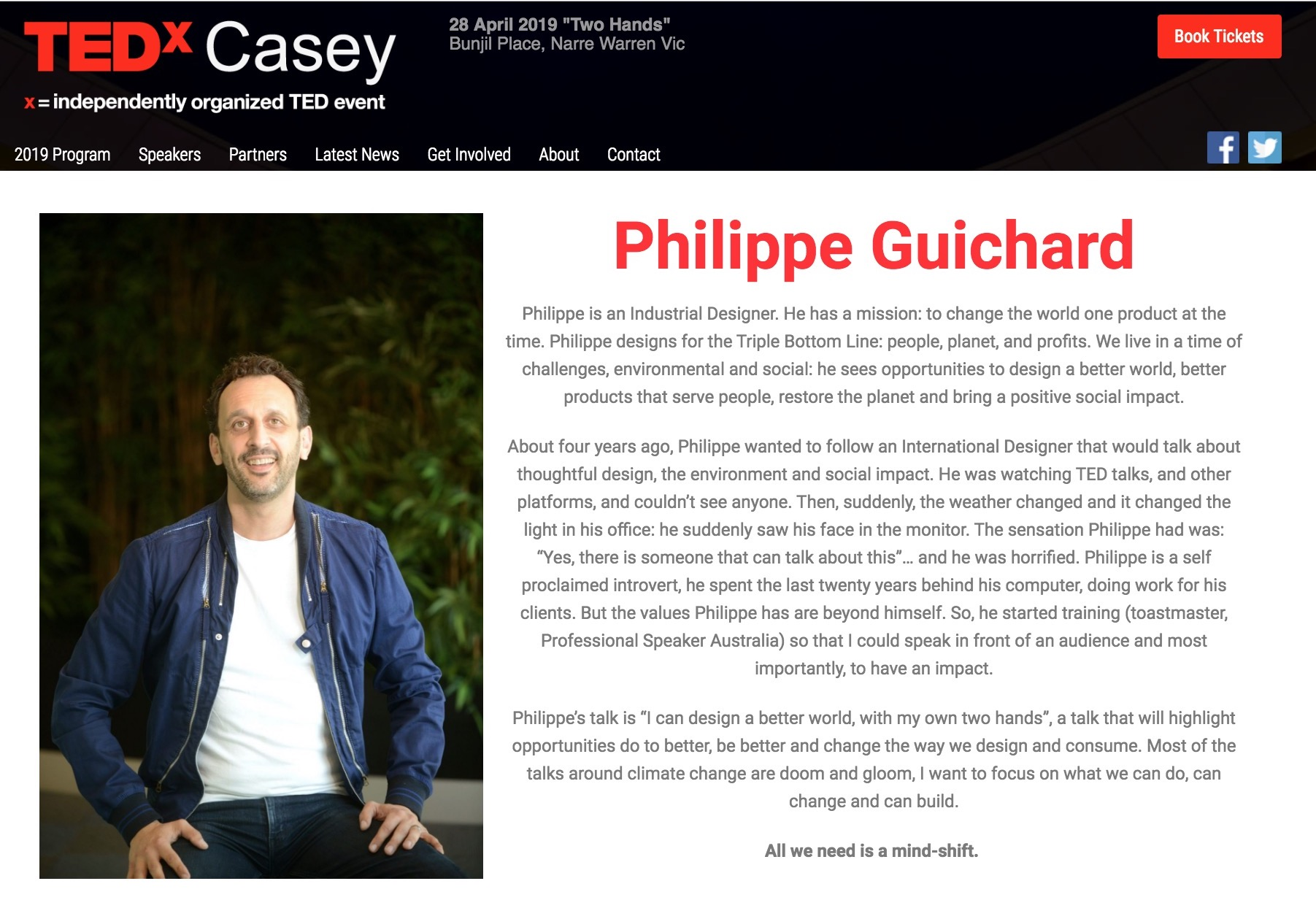 TEDx Casey Melbourne Philippe Guichard speaks Design