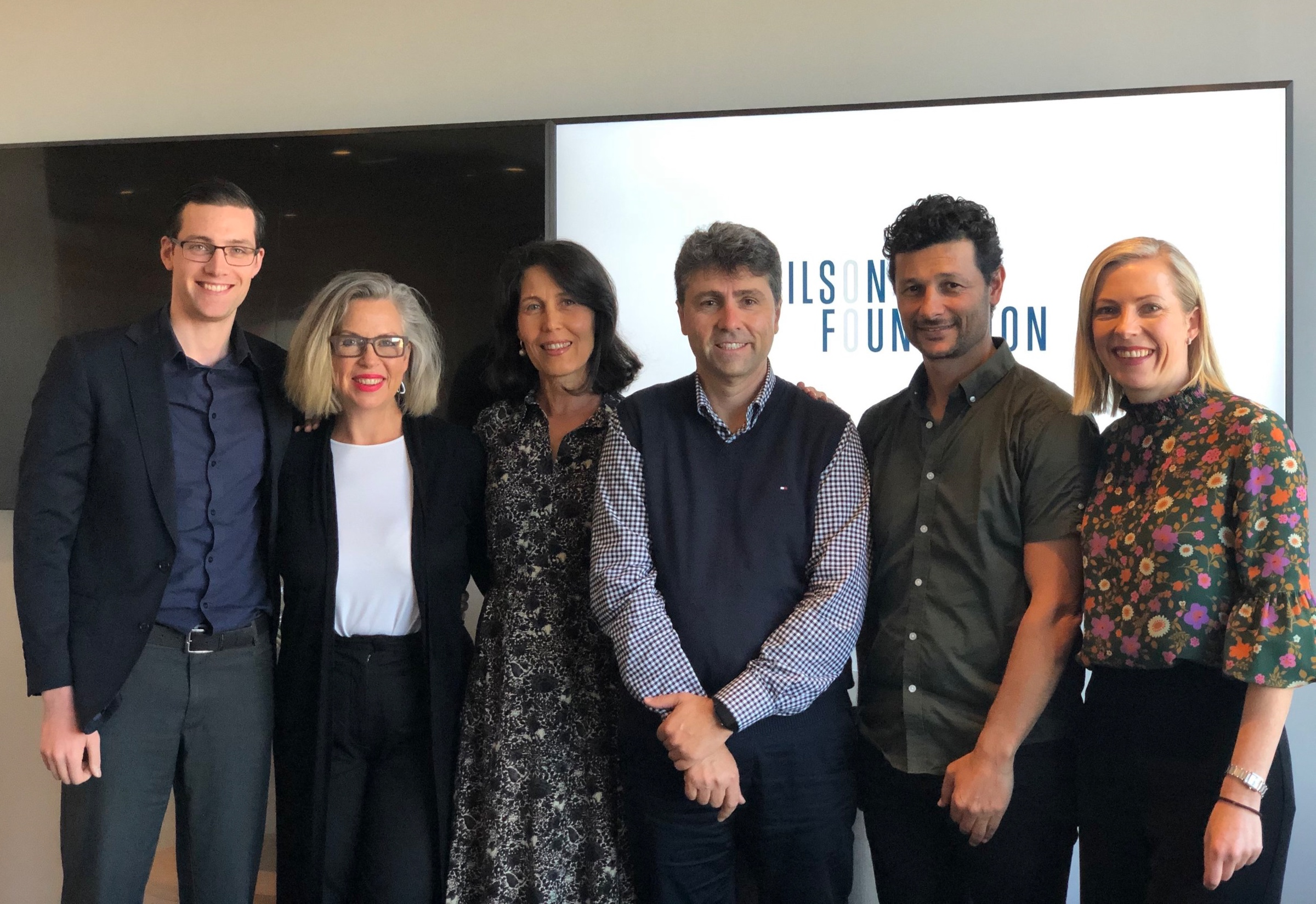 L-R: Dr Sam Manger, President  ASLM ; Prof. Felice Jacka, Director  Food & Mood Centre ; Karen Wilson, Chair Wilson Foundation; Prof. Jim Lagopoulos, Director  Sunshine Coast Mind & Neuroscience Thompson Institute ; Prof. Murat Yucel, Director  BrainPark ; Kirsten Ross, Foundation Manager Wilson Foundation