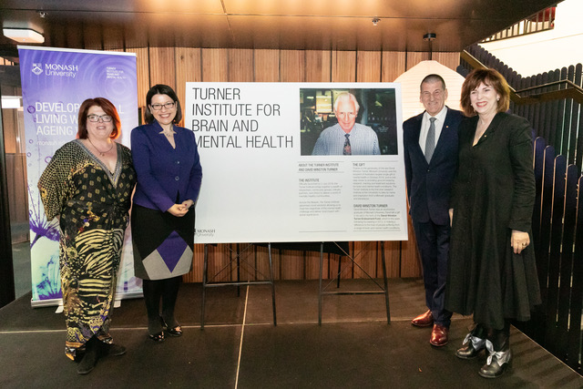 L-R: Prof. Kim Cornish, Director Turner Institute for Brain and Mental Health; The Hon. Jenny Mikakos, Minister for Health and Minister for Ambulance Services; The Hon. Jeff Kennett AC; Prof. Margaret Gardner AO, Vice Chancellor, Monash University