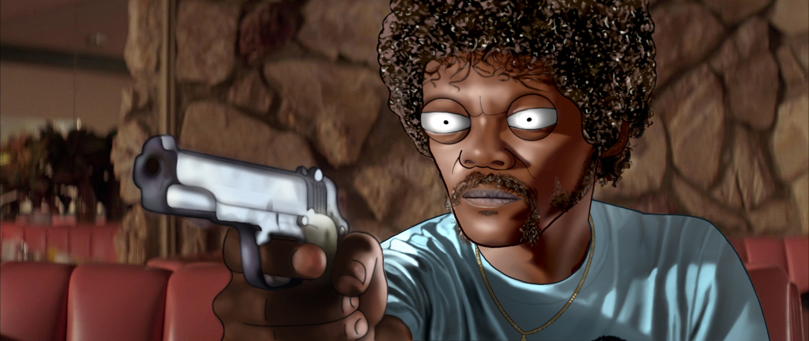 Photoshop, Illustrator   A cartoon homage to my all time favorite movie, Pulp Fiction.