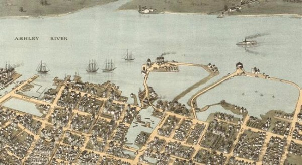 The area around present day Lockwood Drive used to be marsh, mudflats, and water. West Point Rice Mill can be seen in the center; Colonial Lake is on the far left. C. Drie. Bird's Eye View of Charleston, SC. 1872. American Memory LOC .