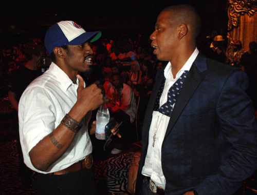 """Jay-Z and André 3000, photographed speaking during the  MTV  """"Video Music Awards,"""" held at the  Radio City Music Hall in New York City on August 31, 2006."""