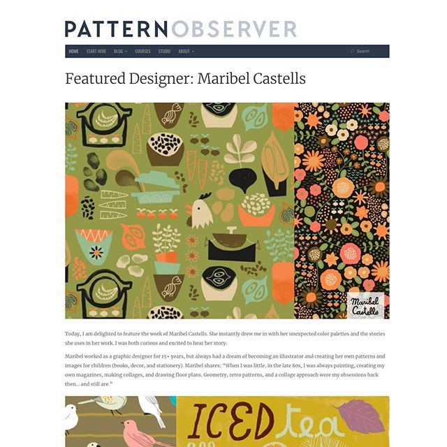 Today I'm the featured designer at @patternobserver website. (Thanks Michelle!). Read the full article with my story and some of my surface design work and patterns at Pattern Observer's profile. + + #illustration #surfacedesign #illustratedlife #illustrator #illustratorsofinstagram #designinspo #patterndesign #patternobserver #patterns #repeats #art_dailydose #artist_4_shoutout #artwork #artistsofig #artistic