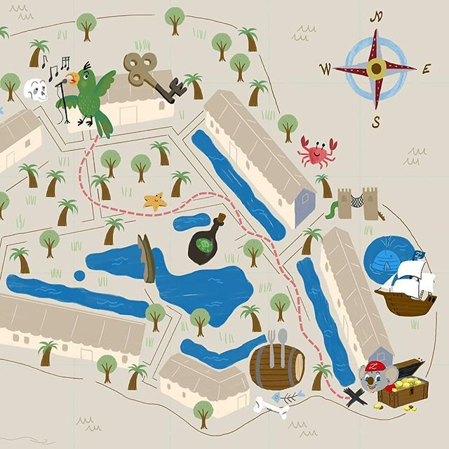 🦀 THROWBACK THURSDAY!  I was filing old finished work when realized for some reason I forget to post this one, from january 2018!: A series of 9 illustrated maps for @zafirohotels, a 5* and 4* star-hotel chain in Mallorca & Menorca.  The project was commissioned by the Animation department, which needed an illustrated pirate-themed version of the hotels maps. There are two flagship elements for children in every one of these family hotels: a pirate ship with aquatic slides and a Pirate themed Miniclub, headed by Yzzy the mascot, a friendly pirate koala - here's where the maps eventually would be used.  That's why the first rule of this work was to infuse a pirate style in every hotel map. Simplifying the whole layout, leaving only the main interest points & services for children, but filling them with lots of pirate, sailor imagery, and classical treasure hunt map vibes.  It was a huge and cool project that required organization and efficient workflow to achieve style consistency among them, despite the different hotel layouts. You can swipe right to explore 3 stages of the creative process, and some final maps.  1️⃣ An example of one original hotel Vector map. 2️⃣ The first sketch, based on the previous vector map. I drew this using a tracing lightbox and the original vector map below, as a guide to ensure proportions. 3️⃣ Final illustrated map. This one is for Zafiro Palace Alcudia 5*. 4️⃣ Zafiro Palace Palmanova 5*, 5️⃣ Zafiro Can Picafort 4*, 6️⃣ Zafiro Cala Mesquida & Park Cala Mesquida 4*, 7️⃣ Zafiro Menorca 4*, 8️⃣ Zafiro Palmanova 4*, 9️⃣ Zafiro Tropic 4*. Notice how every ground & buildings are different from each other, but they share icons and elements. 〰️ This is the approach I use to illustrate any map, which I recommend if you wish to do the same: working layer by layer, starting from the background - where commonly the big shapes, roads are- and finish on the top, where you can fill empty spaces and enrich the whole with unexpected details. 🖤 I hope y