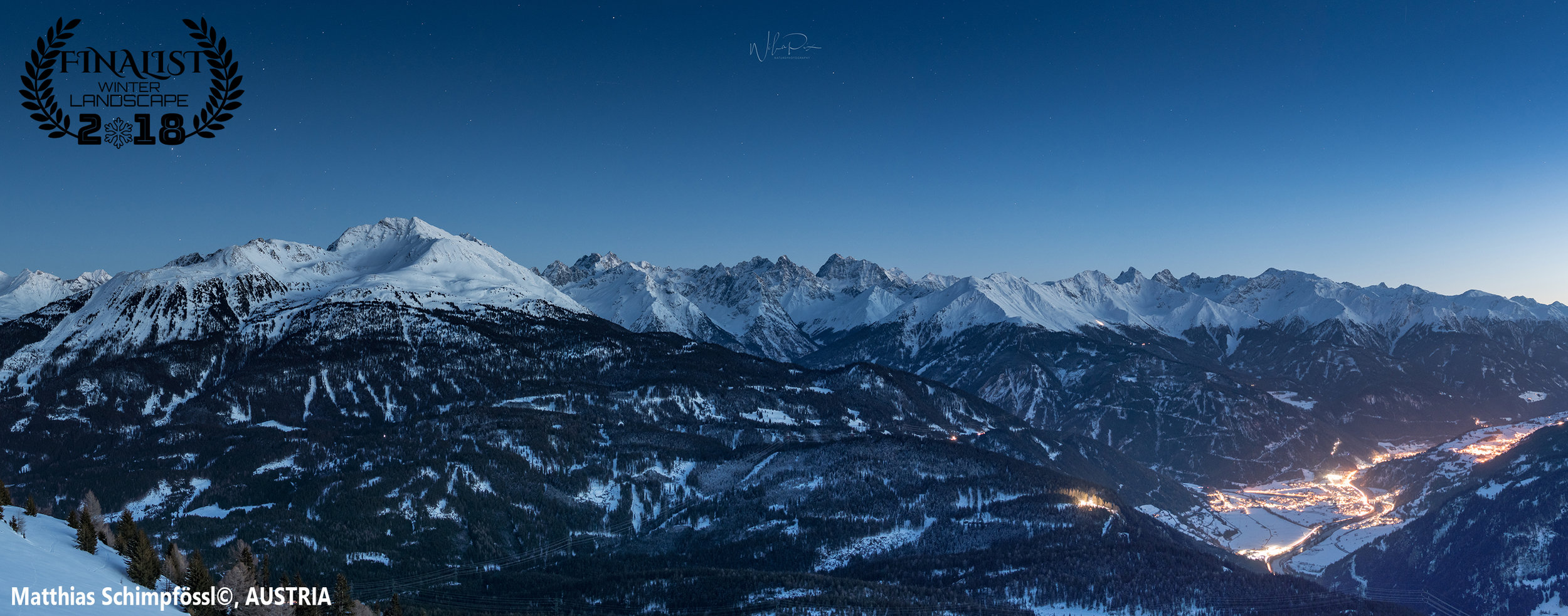 """'when the sun is gone'  """"I made this picture of the tyrolian alps after an 2 hours ski hike. You can see my hometown prutz and the majestic kaunergrat after sunset.""""  Photographer: Matthias Schimpfössl, AUSTRIA"""