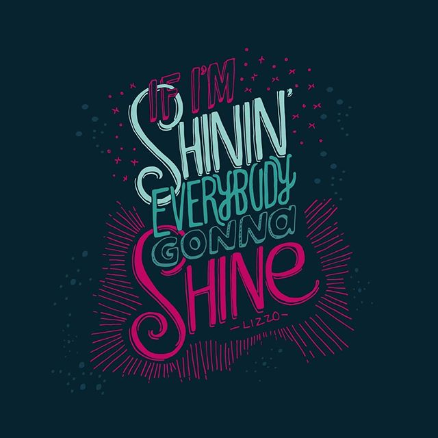 From 'Juice' by Lizzo @lizzobeeating 🔥✨✨💁🏿‍♀️ 🔥 . This ✨🔥 lyric reminds me of a famous quote I love and have illustrated before by @mariannewilliamson - 'And as we let our own light shine,  We unconsciously give other people permission to do the same.' ✨✨ . Shine on people ☀️💓