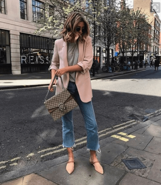Pale pink blazer with jeans