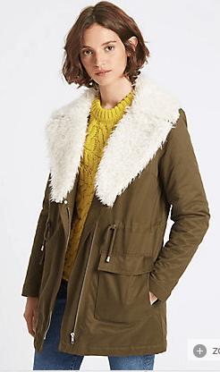 khaki faux fur coat