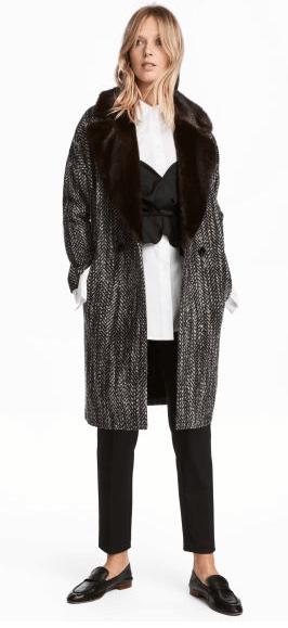 Tweed coat fur collar