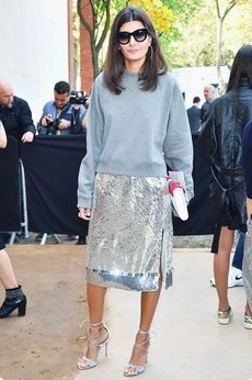 Silver sparkly skirt and jumper.png