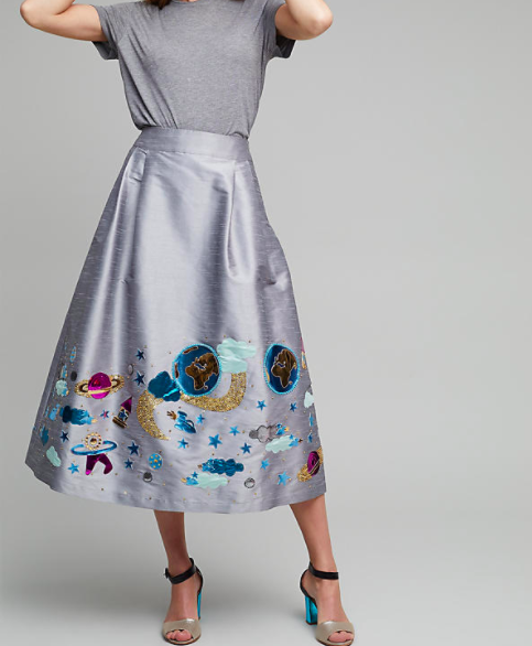 Galaxy print silver skirt at Anthropologie