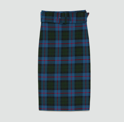 Check Skirt with oversized waistband | Zara