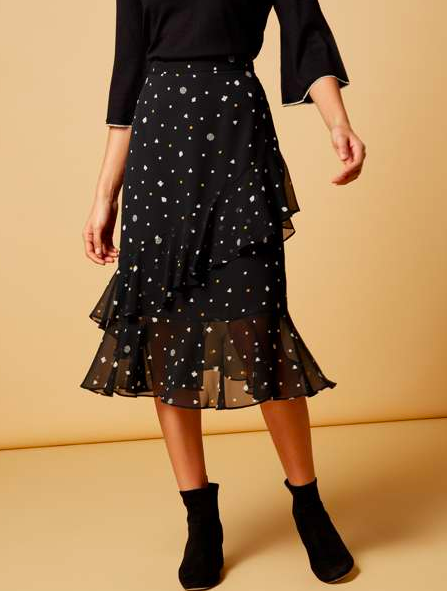 Polka Dot(ish) chiffon ruffle skirt | Biba at House of Fraser