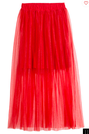 Red pleated tulle skirt | H&M