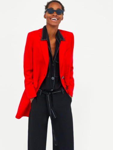 Red tailored coat |Zara