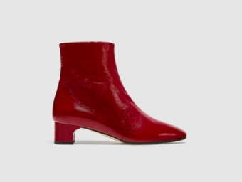 Red leather patent boots | Zara