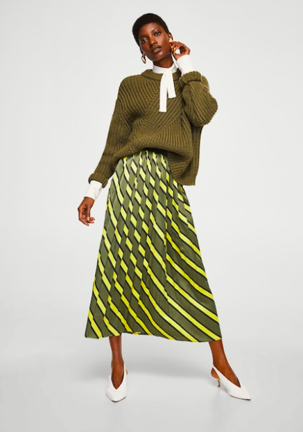 Mango green and yellow striped pleated midi