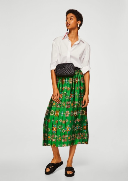 Mango green printed silky skirt - looks good with a white shirt.