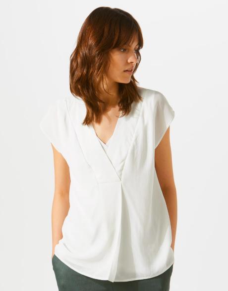 Jigsaw cream silk blouse with cap sleeves