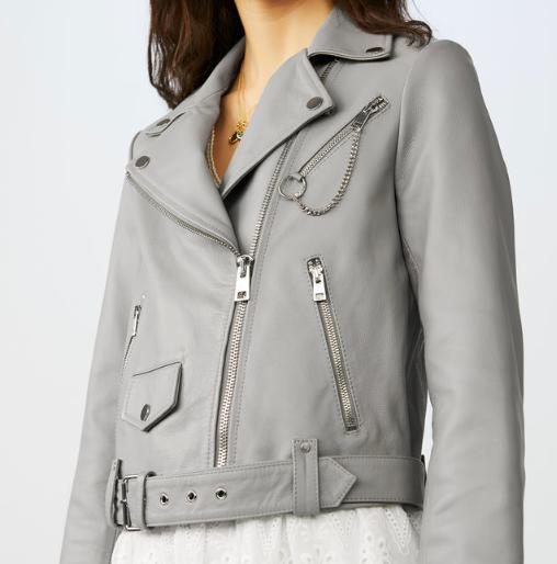 Maje sort grey leather jacket