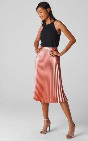 Whistles signature satin pleated midi skirt