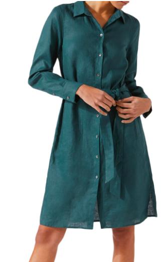 Jigsaw peacock green linen shirt dress