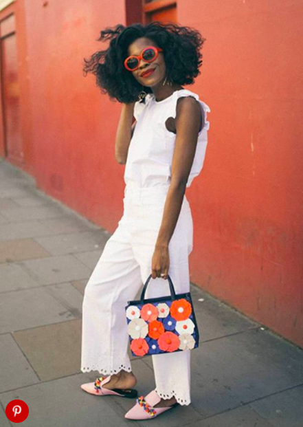 White jeans red accessories - LOVE this outfit, so cool