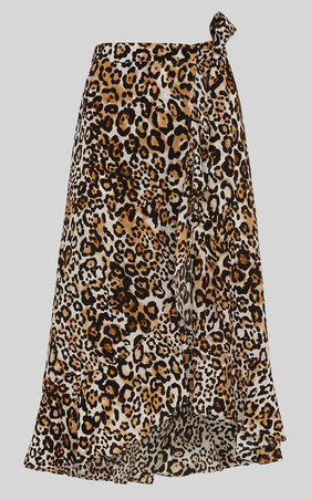 Whistles animal print wrap skirt