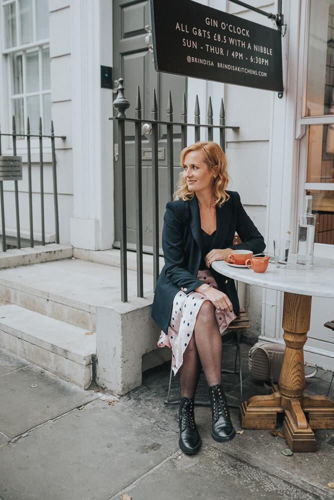 Blazer, Zara | Polka Dot satin skirt, Topshop (pink has sold out,  similar here )|  Boots, & Other Stories