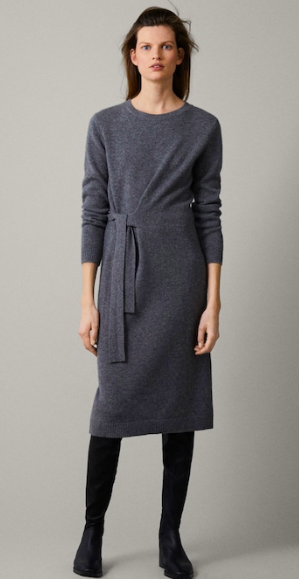 Massimo Dutti, cashmere tied wool dress