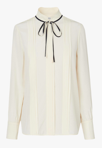 LK Bennet tie neck cream silk blouse
