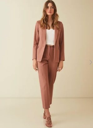 Reiss dusky pink suit with cropped tailored trouser