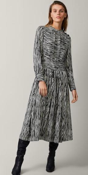 Zebra print dress with waist detail - massimo dutti