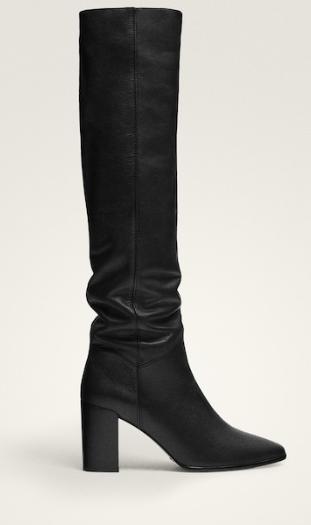 Black leather heeled boots - Massimo Dutti