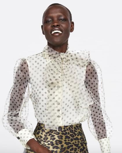Zara organza pussy bow blouse