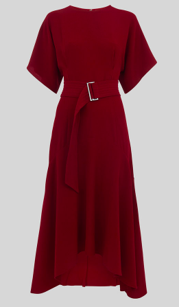 Whistles belted burgandy midi dress