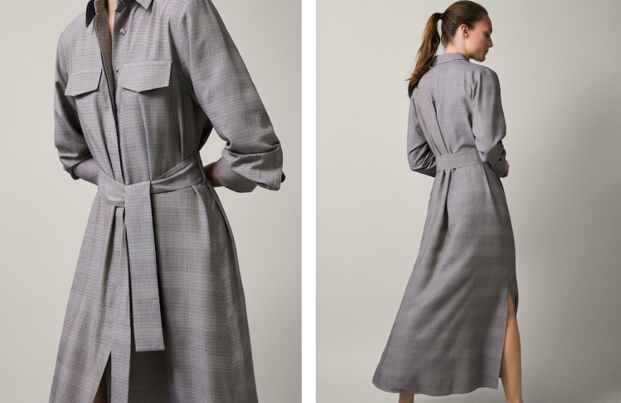 Massimo Dutti long belted check shirt dress