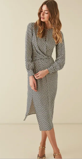 Reiss checked midi dress
