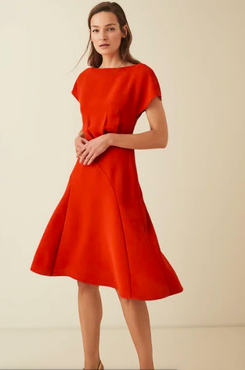 Red cap sleeve midi dress