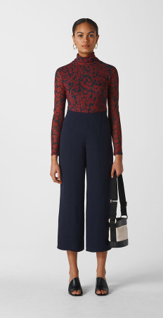 Whistles Flat Front Crepe Trouser