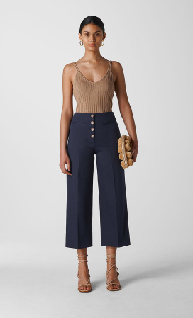 Navy cotton wide legged trousers